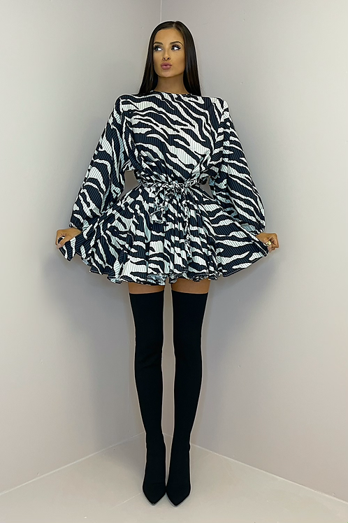 PALOMA Zebra Print Belted Frill Dress