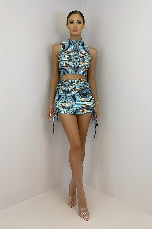 AURORA Blue Marble Ruched Skirt Co Ord