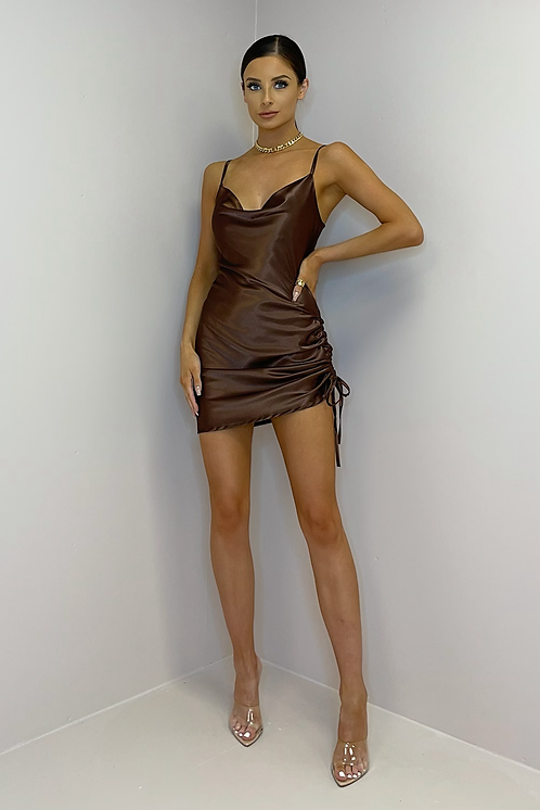 LILLY Chocolate Silky Cowl Neck Mini Dress