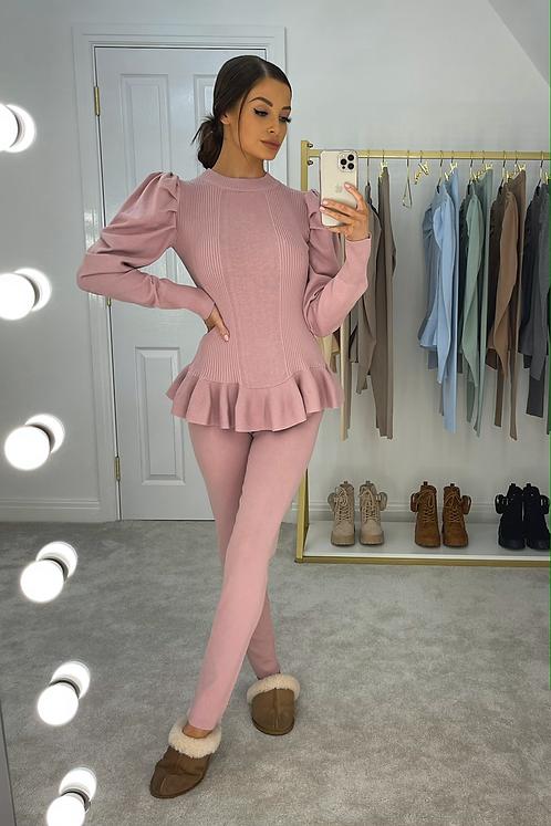 ERIN Pink Puff Sleeve Knit Lounge Set