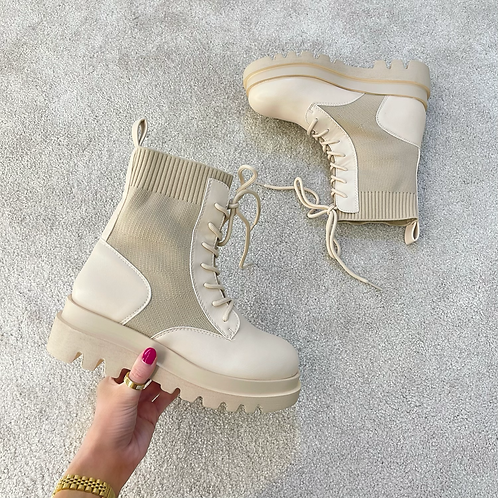 HOLLY Beige Lace Up Chunky Ankle Boots
