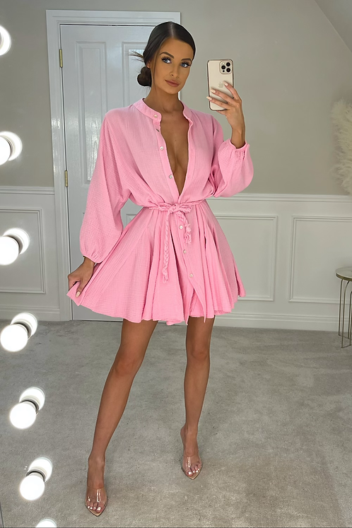 RUBY Candy Pink Belted Frill Shirt Dress