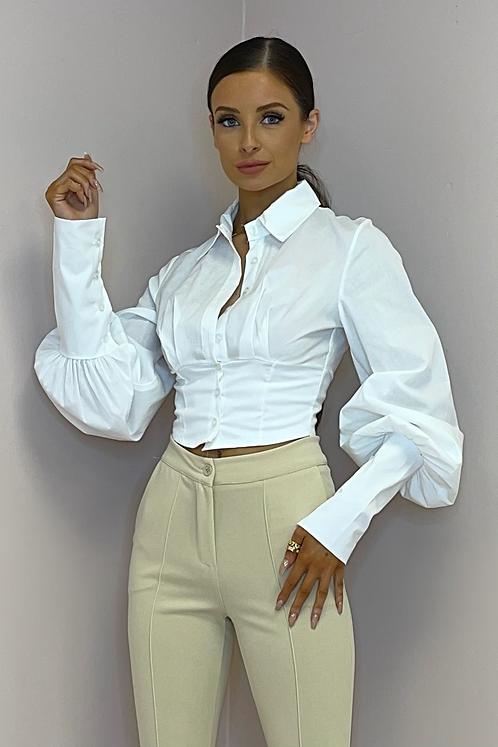 MARY White Cropped Baloon Sleeve Shirt