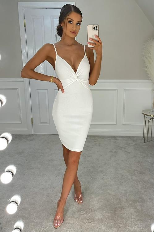 AUTUMN White Ribbed Twist Front Midi Dress