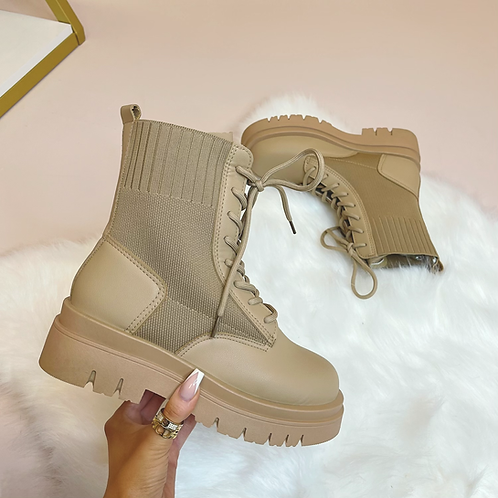 PEYTON Camel Lace Up Chunky Boots