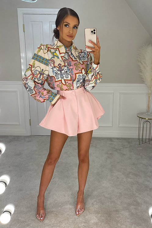 TAYLOR Pink Oversized Collar Printed Shirt