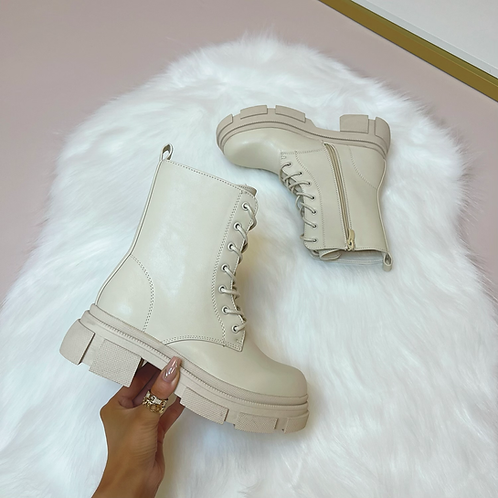 ADA Beige Chunky Lace Up Boots