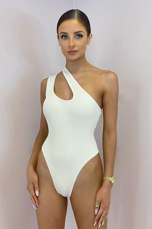 SKYE Premium Rib Beige Asymmetric Bodysuit