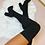 Thumbnail: JASMINE Black Stretch Knit Thigh High Boots