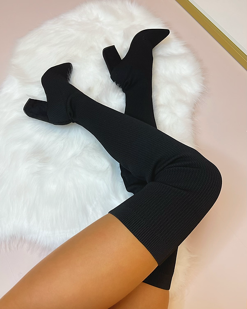 JASMINE Black Stretch Knit Thigh High Boots