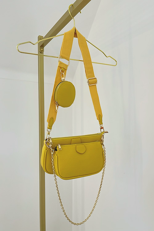 BLAKE Yellow Multi Pocket Crossover Pouch Bag (SALE)