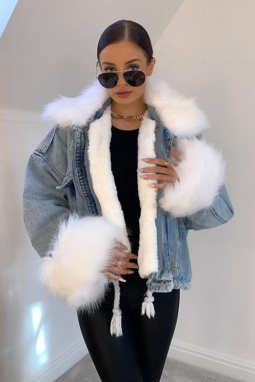 CHLOE Blue Denim & White Faux Fur Jacket