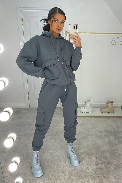 ELSIE Petrol Blue Oversized Pocket Tracksuit Set