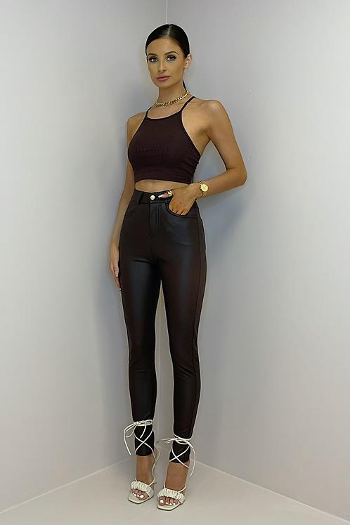 MAXINE Brown Vegan Leather Skinny Trousers