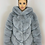 Thumbnail: IVY Grey 5 Tier Luxury Faux Fur Hooded Coat