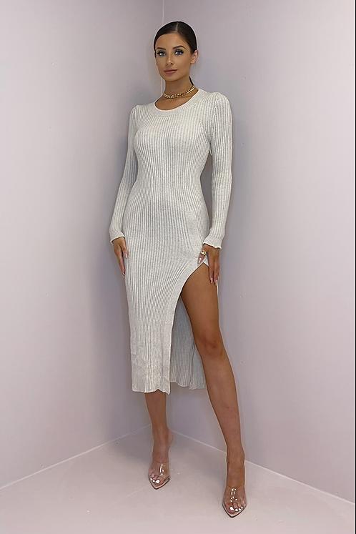 MIA Beige Knit High Slit Midi Dress