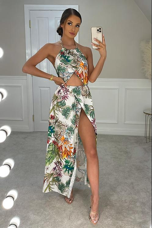 SIAN White Floral Chain Split Maxi Dress (SALE)