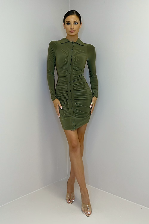 BAILEY Olive Slinky Button Down Dress
