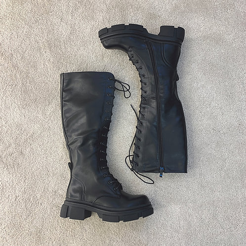 BAILEY Black Knee High Lace Up Biker Boots