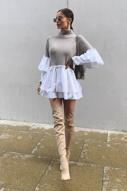 SAVANNA Beige Soft Knit Shirt Jumper / Mini Dress