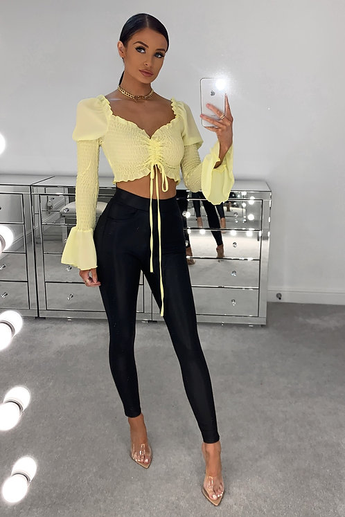 LIBBY Black High Waisted Thick Leather Look Trousers (SALE)