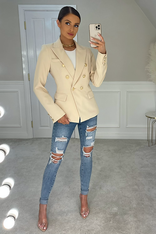 ANNABELLA Beige Gold Buttoned Tailored Blazer
