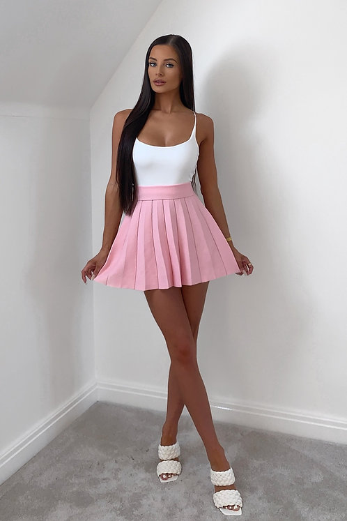 CALLIE Barbie Pink Pleated Knitted Skirt