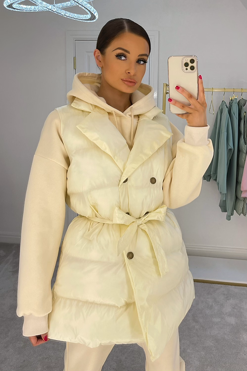 ELONER Cream Lightweight Puffer Gilet (SALE)