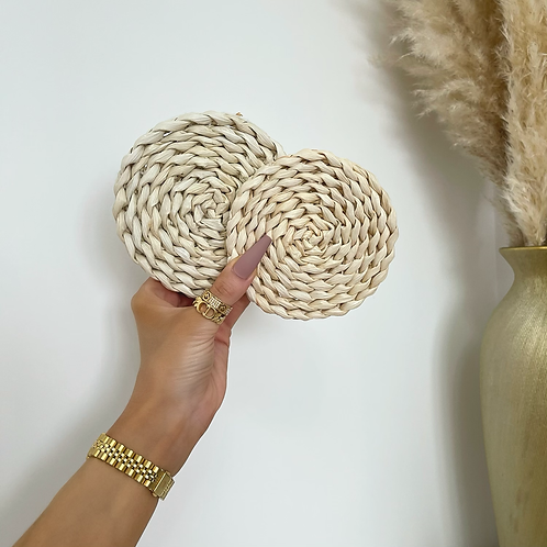 X2 Natural Wicker Plaited Coasters
