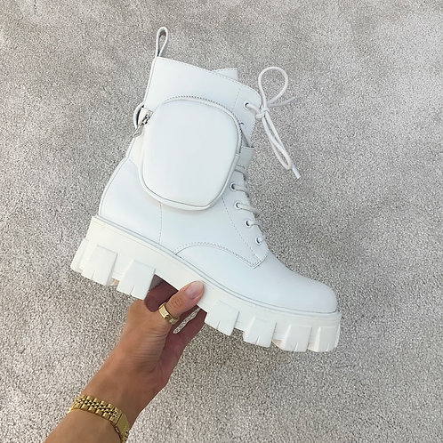 HARPER White Chunky Pocket Ankle Boots