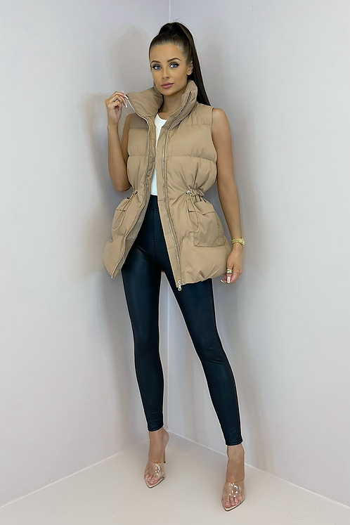 PEARL Toffee Cinched Waist Longline Puffer Gilet