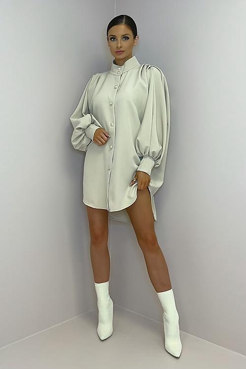 ALICE Beige Premium Oversized Shirt Dress