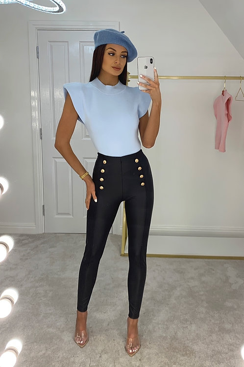 ABIGAIL Baby Blue Shoulder Padded Knit Top