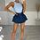 Thumbnail: HAZEL Blue Ribbed Backless Bodysuit