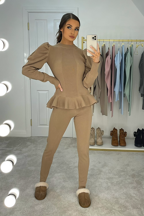 ERIN Toffee Puff Sleeve Knit Lounge Set