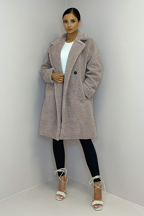 MILLIE Mauve Double Breasted Teddy Coat