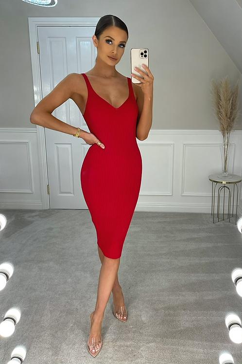 ARIEL Premium Red Ribbed Midi Dress