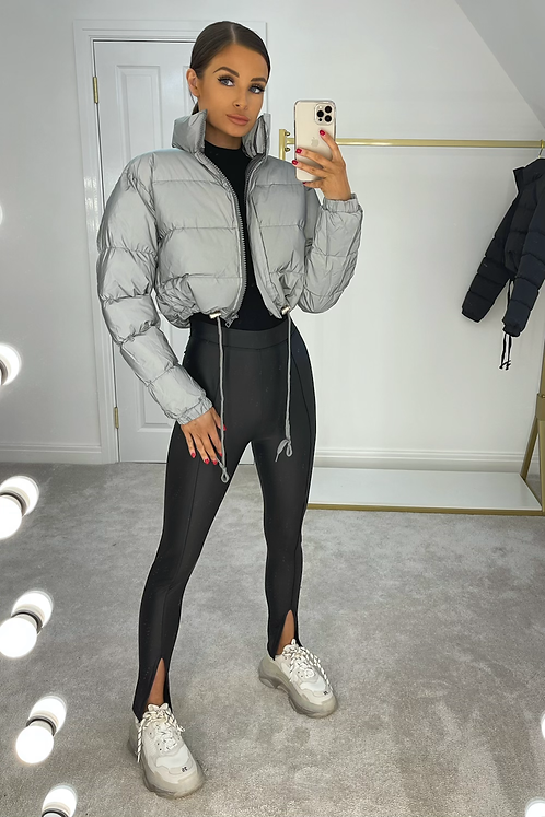 MATILDA Grey Cropped Reflective Puffer Jacket