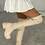 Thumbnail: HARRIET Beige Thigh High PU Chunky Boots