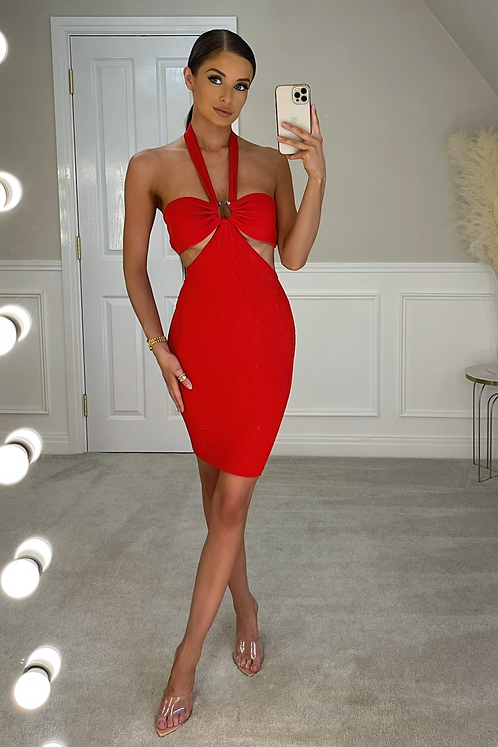 EDIE Red Ribbed Cut Out Ribbed Mini Dress (SALE)