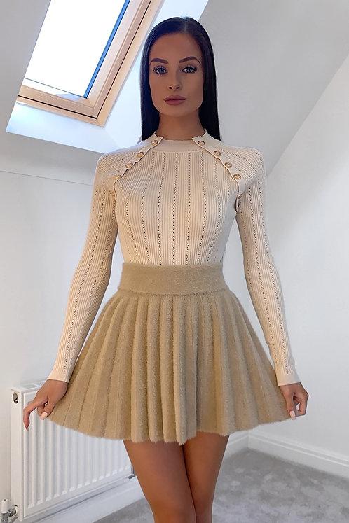KAYLA Beige Soft Fluffy Pleated Skirt (SALE)