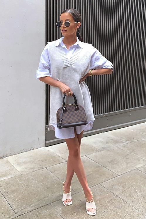 JILLY Beige Knit Jumper & Shirt Combo Dress