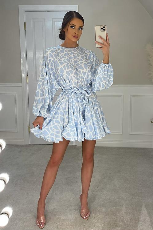 PALOMA Blue Animal Print Belted Frill Dress