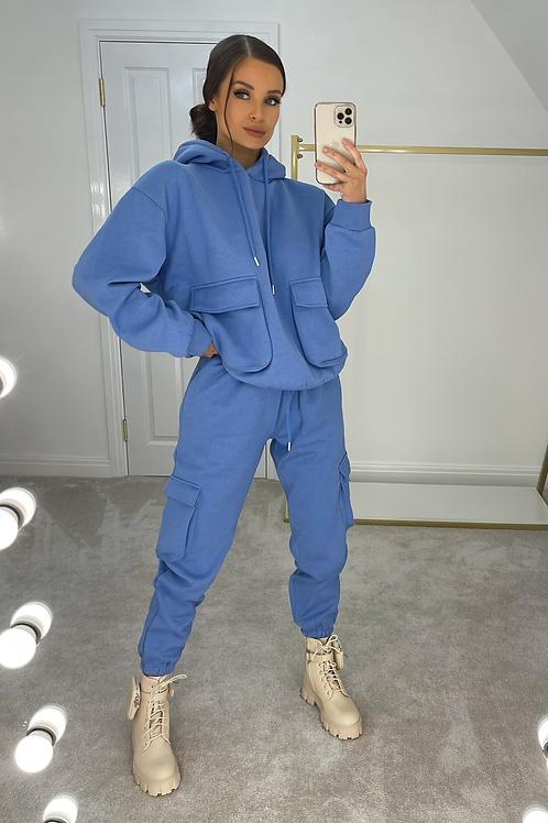 ELSIE Electric Blue Oversized Pocket Tracksuit Set