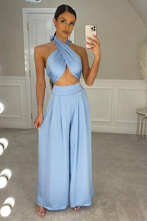 ELLA Baby Blue Multiway Silky Palazzo Co Ord