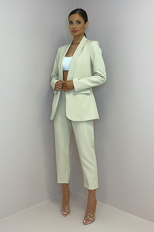 SIENNA Beige Fitted Trouser Suit