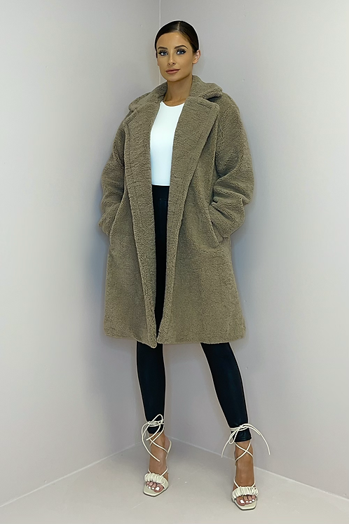 MILLIE Taupe Double Breasted Teddy Coat