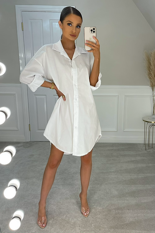 LOGAN Simple Crisp White Shirt Dress