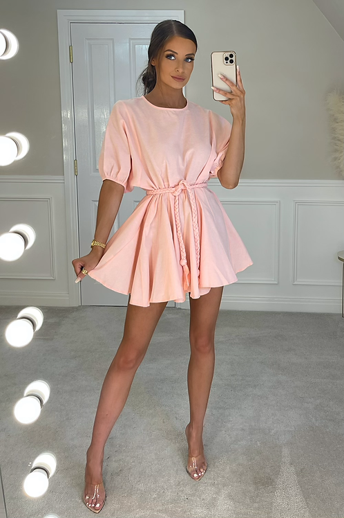 LILLIE Baby Pink Belted Frill Dress (SALE)