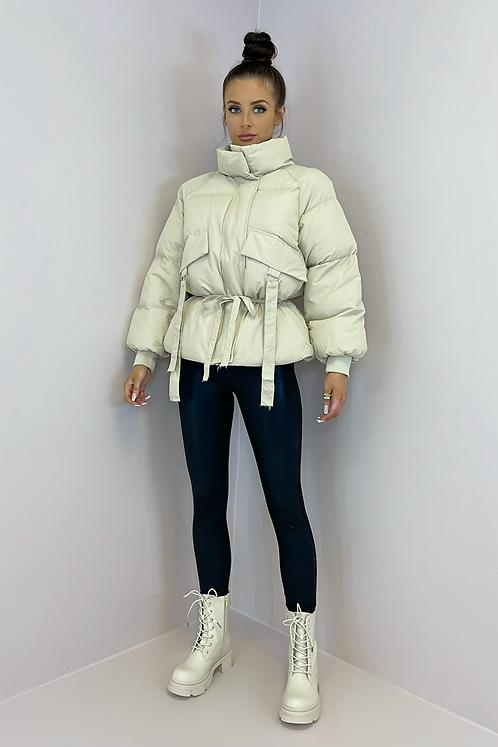 LUCIA Beige Cinched Waist Puffer Jacket